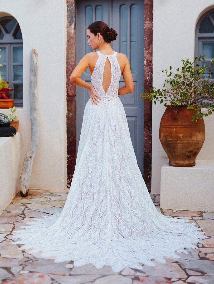 F167-Autumn - back of halter neck wedding gown.
