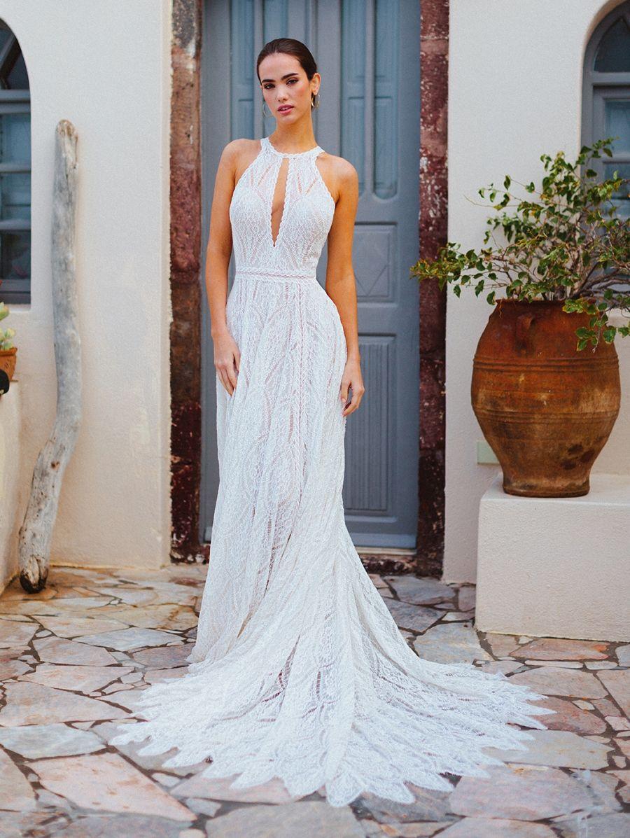 F167 Wilderly Bride boho halter neck wedding dress.
