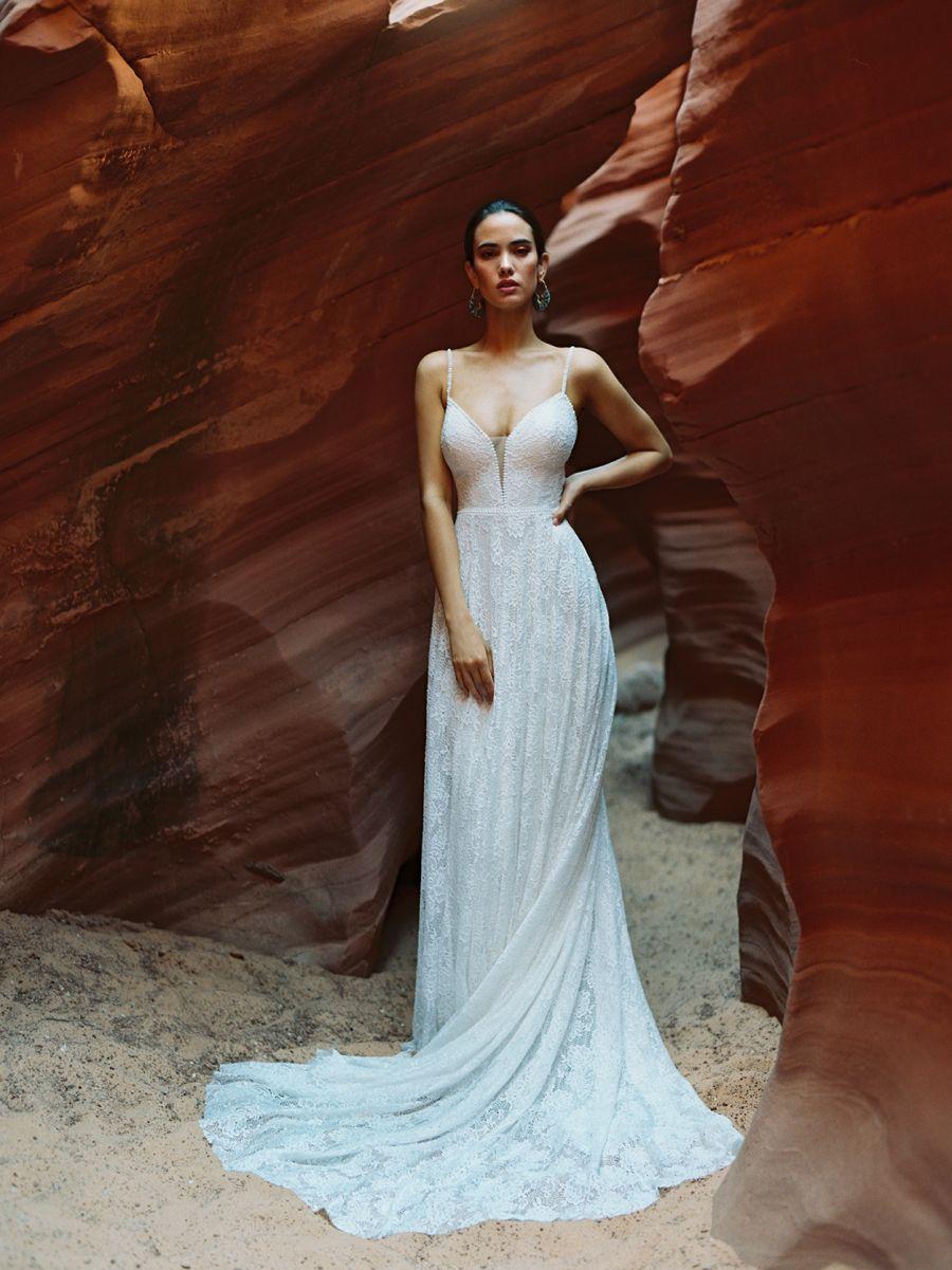 F182-Clara - Wilderly Bride soft A-line lace wedding dress