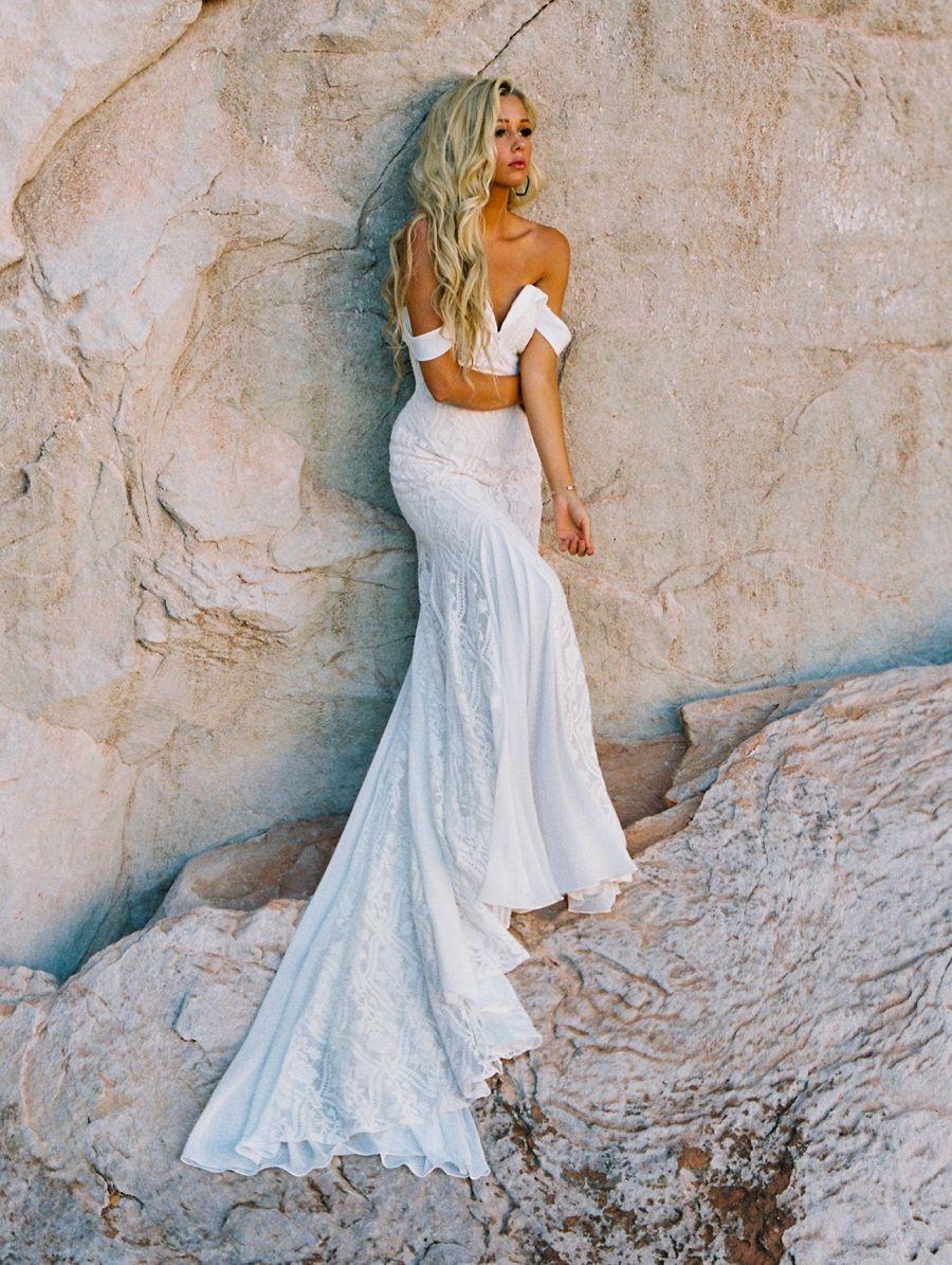 F183-Cammi Wilderly Bride, bardot neckline for the boho bride.