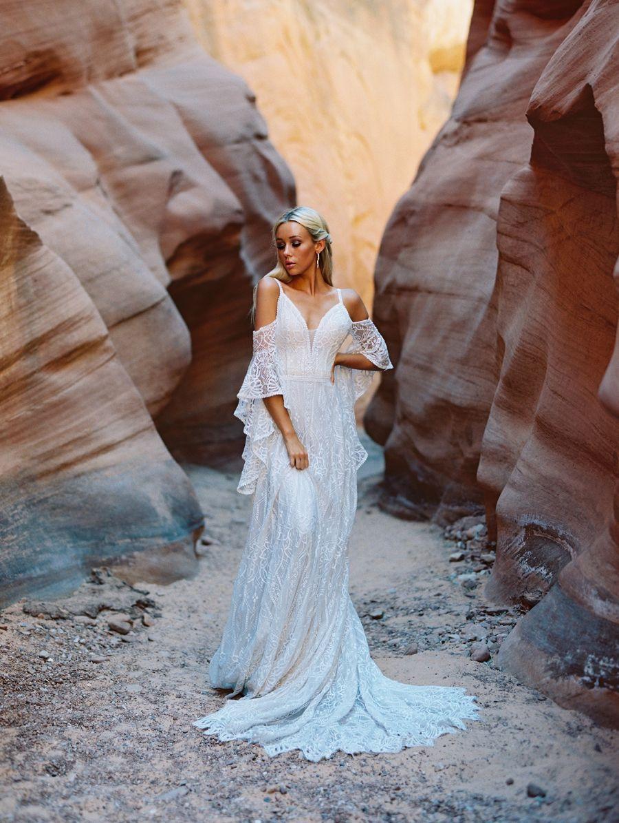F190-Genevieve boho wedding dress with waterfall sleeve