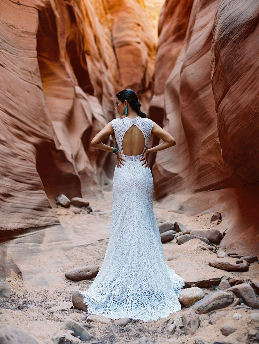 F196-Cardin open back lace wedding dress