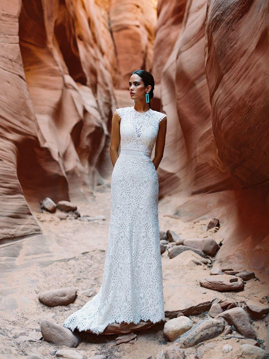 F196-Cardin lace high neck wedding dress